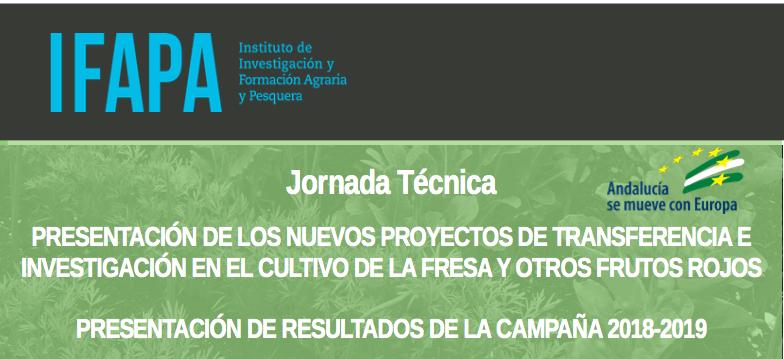 Jornada técnica del IFAPA sobre investigación en fresa y otros frutos rojos el próximo 20 de noviembre en Cuna de Platero
